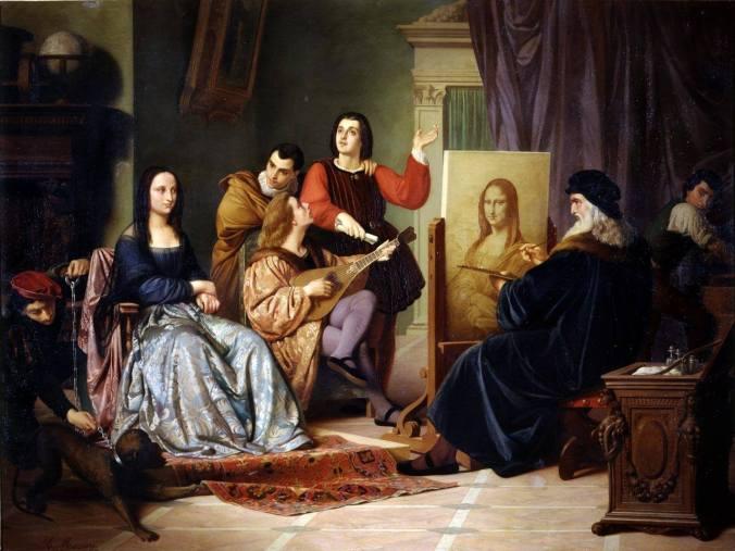 Cesare Maccari - Leonardo Painting the Mona Lisa. 1863
