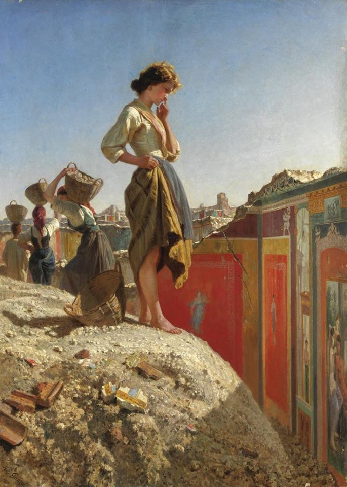 Maiden in the Excavations of Pompeii by Filippo Palizzi
